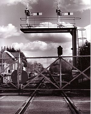 Marchwood railway station - Marchwood railway station and level crossing gates, c.1996