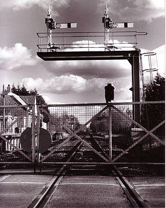 Marchwood - Marchwood railway station and level crossing gates, c.1996.