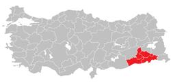 Plassering av Mardin Subregion