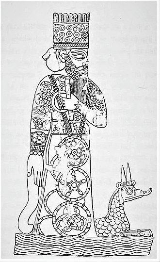 Marduk - Marduk and his dragon Mušḫuššu, from a Babylonian cylinder seal.
