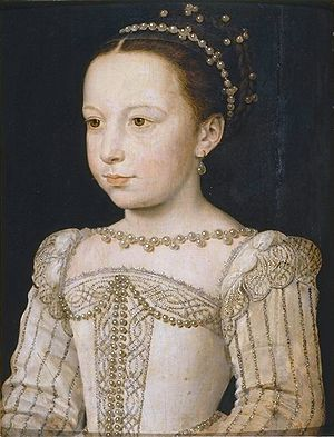 Catherine de' Medici's patronage of the arts -  Catherine's daughter Marguerite de Valois, by François Clouet, c. 1560
