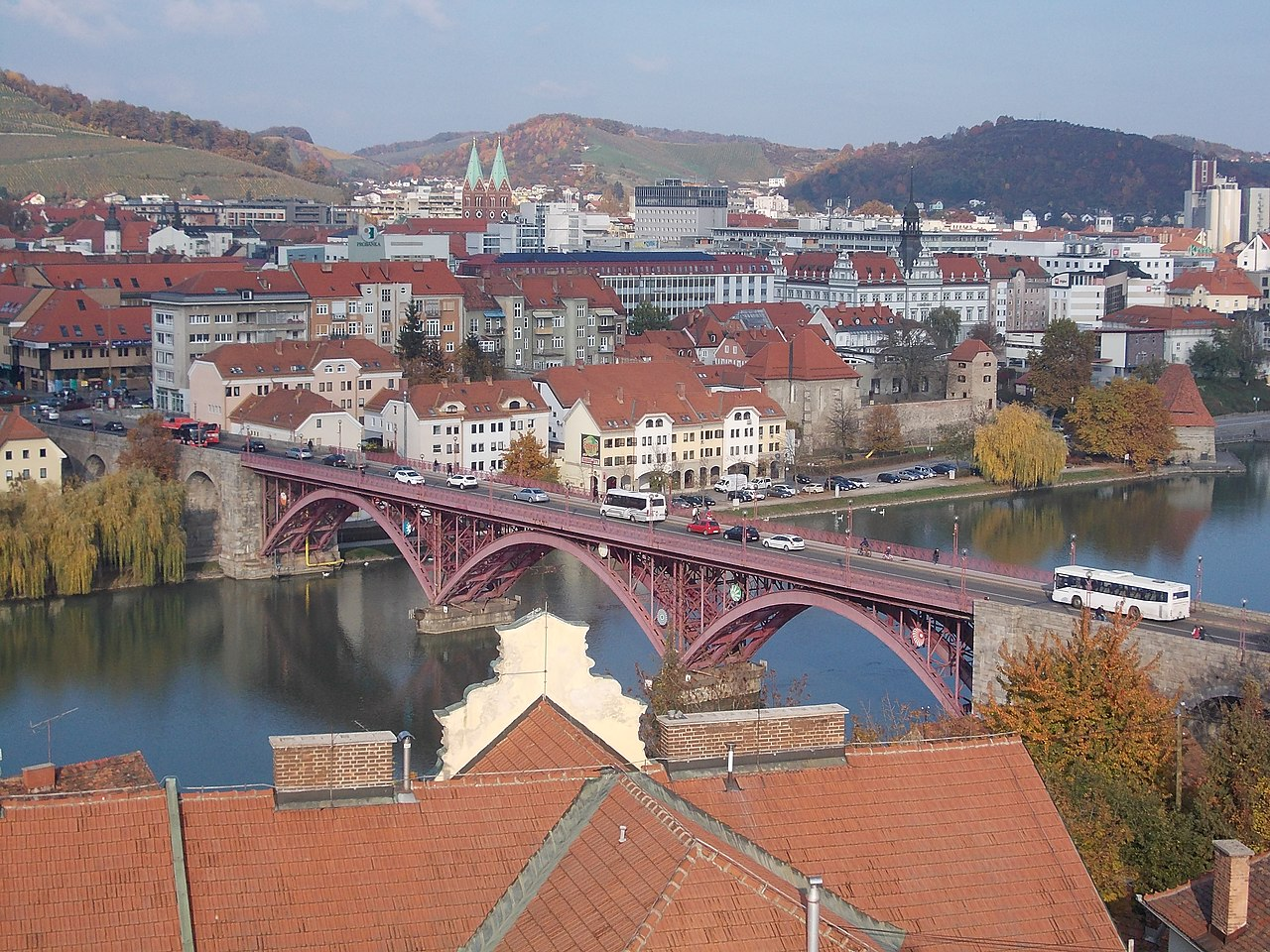 Maribor's Centre with Old Bridge along the Drava River