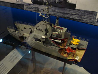 Bay-class minehunter - A cutaway model of the Bay class on display at the Australian National Maritime Museum