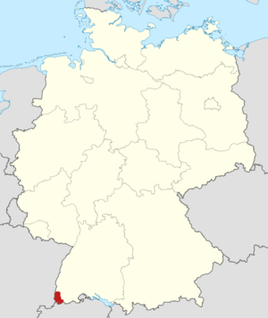 Markgräflerland - Location of the Markgräflerland region in Germany