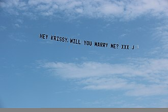 Skywriting - Aircraft Banner Towing has been very popular for Marriage Proposals