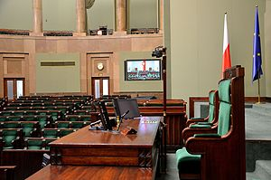 Speaker (politics) - Marshal's chair in the Sejm, lower chamber of the Polish Parliament