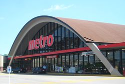 The unique design of the Parkway Mall Metro is a local landmark and registered heritage building