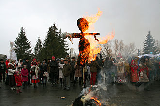 Historical Slavic religion - Burning the straw effigy of Marzanna, on Maslenitsa holiday, in Belgorod