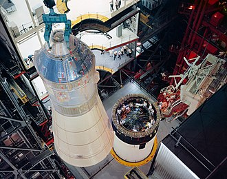 Apollo 8 - Erection and mating of spacecraft 103 to Launch Vehicle AS-503 in the VAB for the Apollo 8 mission