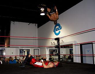 Matt Cross (wrestler) - Cross performing a shooting star press.