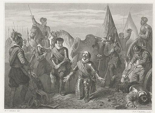 Maurits knielt in dank na de overwinning bij de slag bij Nieuwpoort, 1600 Maurits, na den slag bij Nieuwpoort (titel op object), RP-P-OB-80.556