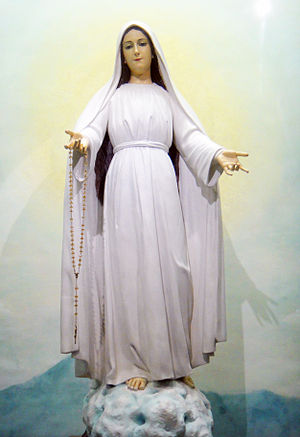 Mercedes Arrastia Tuason - The rescued statue of Our Lady Mediatrix of All Graces, to whom Arrastia strongly advocates a devotion for.