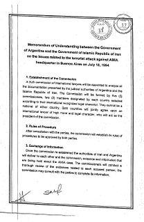 Memorandum of understanding between Argentina and Iran