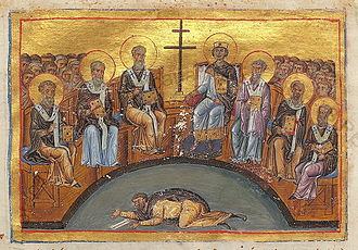 Constantine VI - Constantine VI (right to the cross) presiding over the Second Council of Nicaea. Miniature from early 11th century.