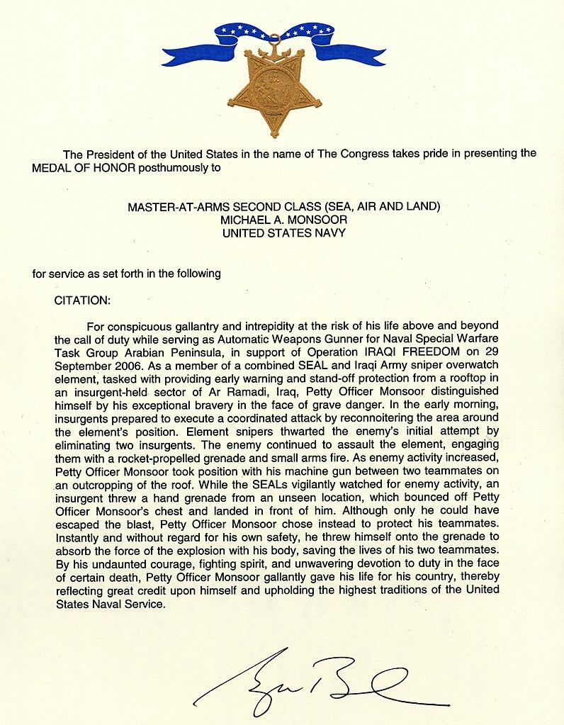 File:Michael Monsoor Medal of Honor citation.jpg ...