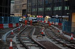 Midland Metro - track laying - Upper Bull Street - Birmingham 15.JPG