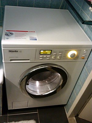 Combo washer dryer - This Miele washer-dryer necessarily has a complex control panel and display to handle various options (2012)