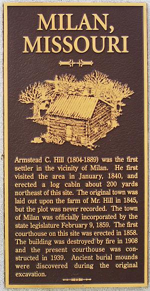 Milan, Missouri - Historical marker