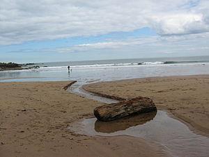 Coldingham Bay - Image: Milldown Burn, Coldingham Beach