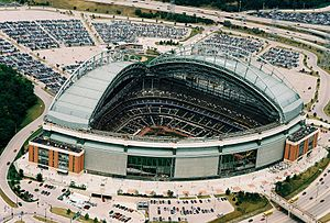 Retractable roof - Miller Park, with a fan style roof.