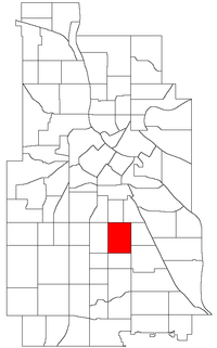 Location of Powderhorn Park within the U.S. city of Minneapolis