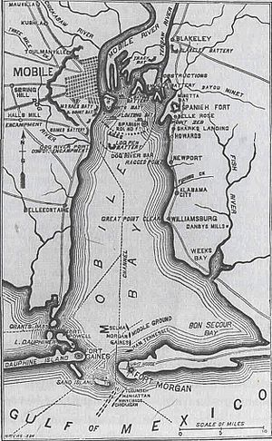 Mobile Bay jubilee - Civil War-era map of Mobile Bay