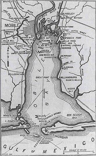 Mobile Bay jubilee - Civil War-era map of Mobile Bay