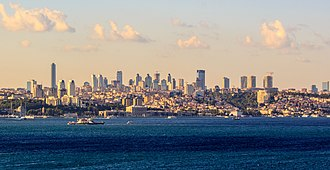 Levent - A distant view of Levent's skyline from the Bosphorus strait in Istanbul.