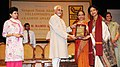 Mohd. Hamid Ansari presenting the Sangeet Natak Akademi Award-2010 to Smt. Malabika Mitra, Calcutta, for her outstanding contribution to Kathak.jpg