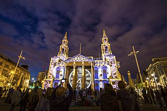Light Night - A clock projected onto Leeds Civic Hall on as part of Light Night 2013