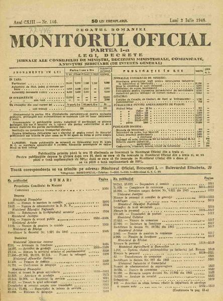 File monitorul oficial al româniei partea 1 1945 07 02 nr 146 pdf