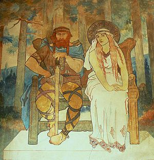 Adalrich, Duke of Alsace - Fresco of Adalrich and Bereswinde, by Charles Spindler, located at Mont Sainte-Odile.