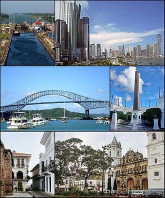 Panama City - Top to bottom, left to right: Panama Canal, Skyline, Bridge of the Americas, The bovedas, Casco Viejo of Panama and Metropolitan Cathedral of Panama.