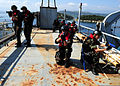 Moroccan sailors practice boarding tactics aboard the training ship HS Aris (A 74) at the NATO Maritime Interdiction Operational Training Center in Souda Bay, Greece, May 10, 2012 during Phoenix Express 2012 120510-N-QD416-062.jpg