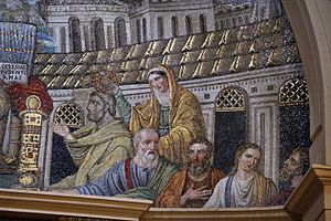 Santa Pudenziana - Detail of the 5th-century AD Paleochristian mosaic in the Santa Pudenziana basilica