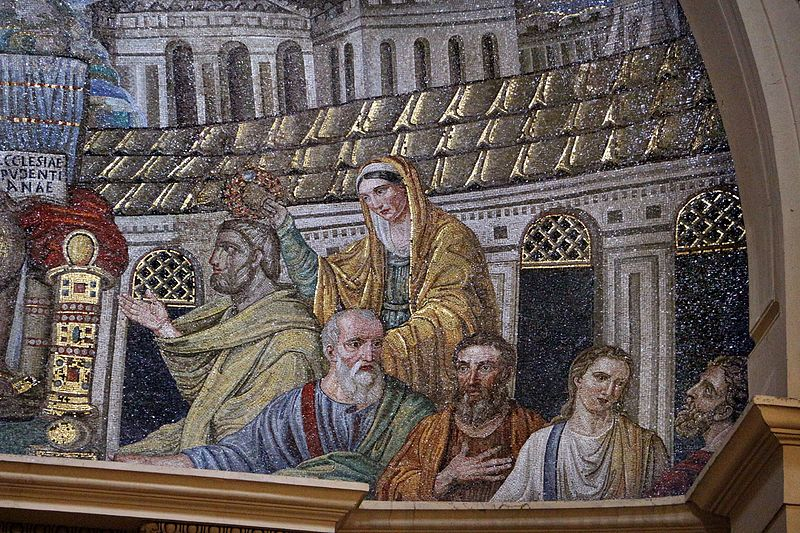 Detail of a Paleochristian mosaic from the basilica of Santa Pudenziana in Rome, c. 410 AD, depicting Saint Pudentiana Mosaico di cristo in trono tra gli apostoli e le ss. prudenziana e prassede, 410 dc ca. 06.jpg
