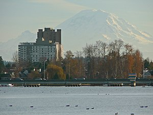 Madison Park, Seattle - Madison Park with Union Bay in the foreground and Mount Rainier behind