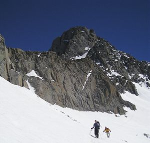 Mount Sill - Climbers on the snow field below Mount Sill, July 2006.