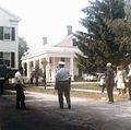 Moving Dyer House by tavern 1964 w police.jpg