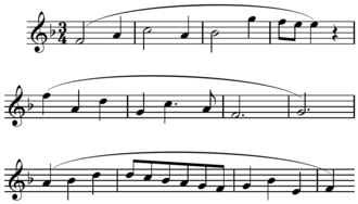 Phrase (music theory) - Image: Mozart Piano Sonata in F, K. 332, first movement phrase group