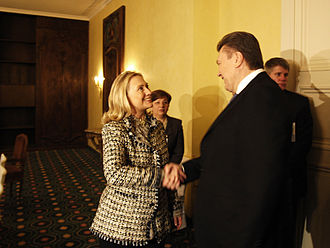 Munich Security Conference - Ukrainian President Viktor Yanukovych meeting Hillary Clinton at the Munich Security Conference 2012