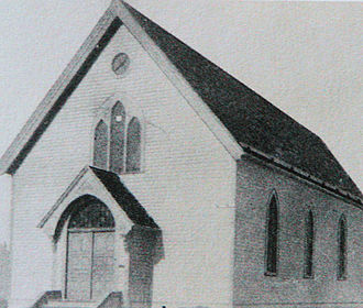 Mount Zion Temple - The first Mount Zion Temple as it looked in 1875