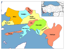 Location of Akyaka, Muğla within Turkey.