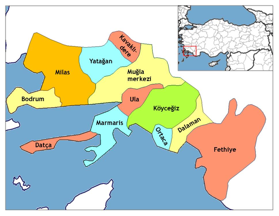 Location of Milas within Turkey.