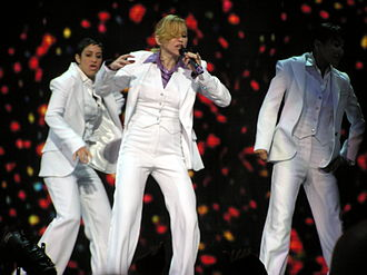 "Music (Madonna song) - Madonna and her dancers wearing disco-inspired outfits while performing ""Music"" during the Confessions Tour"
