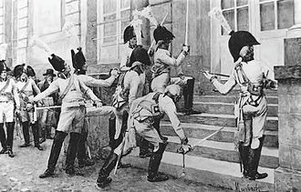 French–German enmity - Officers of the élite Prussian Gardes du Corps, wishing to provoke the War of the Fourth Coalition, ostentatiously sharpen their swords on the steps of the French embassy in Berlin in the autumn of 1805.