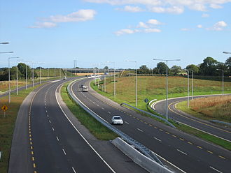 N2 road (Ireland) - N2 looking south from overbridge at Junction 2.