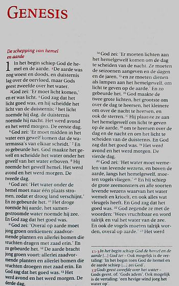 First page of latest Dutch Bible translation (NBV)