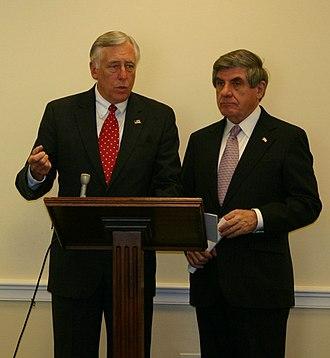 Ben Nelson - Senator Ben Nelson (right) with House Majority Leader Steny Hoyer (D-MD)