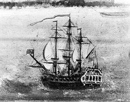 Een zeiloorlogsschip op zee met een Amerikaanse vlag.